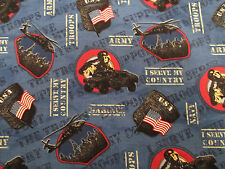 ARMY NAVY AIR FORCE SUPPORT TROOPS USA AMERICAN BLUE COTTON FABRIC FQ