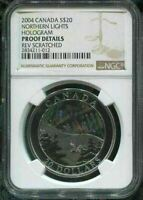 2004 CANADA $20 - NORTHERN LIGHTS  - NGC PFOOF DETAILS w BOX & COA - SILVER COIN