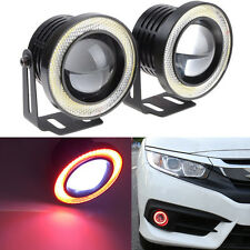 "2x 2.5"" Car Fog Light Lamp COB LED Projector Red Halo Angel Eyes Rings DRL"