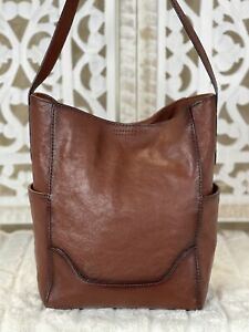 FRYE Side Pocket Hobo Shoulder Tote Cognac Large Handbag Purse Shopper $348