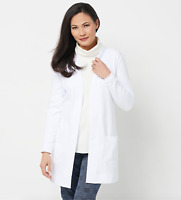Isaac Mizrahi Live! Essentials Open Front Knit Cardigan - White - XSmall