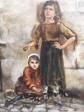 Peinture Hst  fillette Bohémien Vagabond Huile Sur Toile Circa 1900