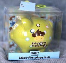 Baby's First Piggy Bank Ceramic Lime Green Baby Essentials Money Shower Unisex