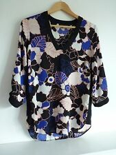 Ladies Lovely Dorothy Perkins Black Mix Floral Hip Length Party Top Size 10, Vgc