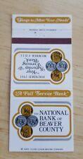 Vintage Matchbook National Bank Of Beaver County Pennsylvania Monaca Mars Fdic