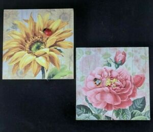 2 Wooden Signs Picture Plaque Wall Decor Sunflower Peony Ladybug Country Rustic