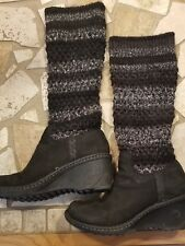 Ugg Boots Size 7 Rubber Bottom With Sweater Upper black and gray