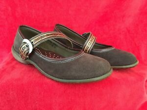 WOMEN'S  NEW SPRING STEP BROWN SUEDE MARY JANE  LEATHER UPPER SHOES SIZE  US 7