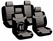 Two Tone PU Lowback Synth Leather Seat Covers Steering Wheel Set Black & Gray CS