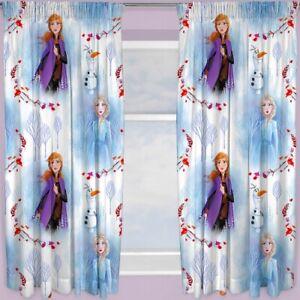 "Disney Frozen Element 66"" x 72"" Ready Made Pencil Pleat Curtains Elsa Olaf"