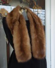 """Vintage Stone Marten Fur Collar Stole Wrap 42"""" L"""