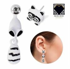 MACKRI Animal Earrings Fox Stainless Steel Stud Earrings WHITE