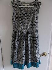 Mata Traders Fair Trade Black & White Sleeveless Dress w/ Turquoise Trim--Sz Med