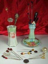 Hatpins & Holders Lot 34 Pins Gold Glass Vulcanite Bakelite Rs Germany Porcelain