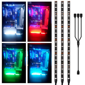 3xPC Addressable RGB LED Strip Lights Magnet PC Case Lighting for Asus Aura 4Pin