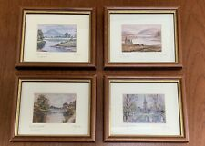 WATERCOLOUR SET Four Small PAINTING Prints Framed Ireland Glenveagh Slemish Down