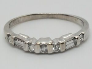 18k White Gold 5 Round 2 Baguette .20 Carat Diamond Wedding Band Size 6 Ring WOW