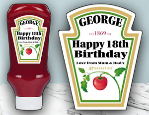 Personalised Tomato Ketchup Label Red Sauce Birthday Celebration Gift Sticker