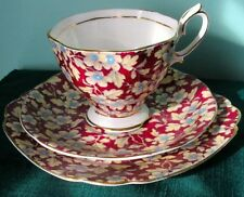 Royal Albert BURGUNDY CHINTZ Trio Dessert Plate Cup & Saucer 1950s