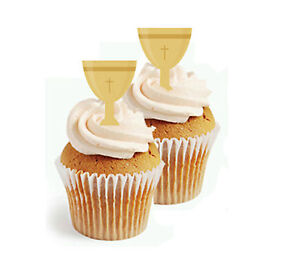 ✿ 24 Edible Rice Paper Cup Cake Topper, decorations - Holy chalice confirmatio ✿