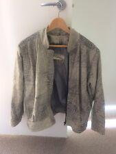 FLORENCE Vintage Leather Jacket Womens Light Grey Snake Skin Bomer 12 80's Retro