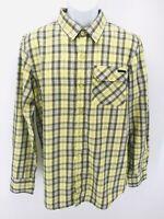 Oakley Mens Size Medium Long Sleeve Button Down Plaid Yellow Shirt Multicolor
