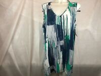 Alfani Sleeveless V Neck Tunic Top Blue Green Streak Women's Plus Size 2X NEW %