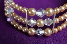 Bracelet Czech Glass Pearl Beads with Austrian Crystals 3 strand