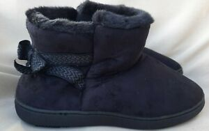 Isotoner Slipper Boots size 7.5-8 Medium Faux Fur & Suede Black Memory Foam