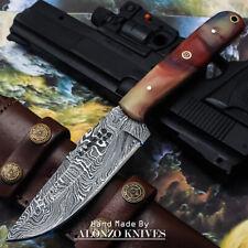 ALONZO USA CUSTOM HANDMADE DAMASCUS  HUNTING SKINNING KNIFE BURL WOOD 16001