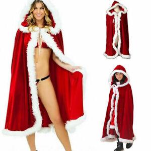 Adult Kid Sexy Red Velvet Hooded Cape Cloak Christmas Halloween Cosplay Robe