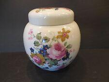 Vintage Sadler Tea Caddy / Ginger Jar with Lid - Roses Floral Design - ENGLAND