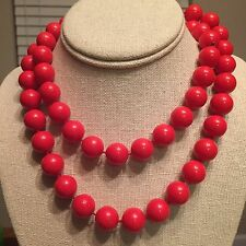 """Retro Costume Large Red Bead Necklace 32"""""""