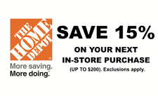 Home Depot 15% Off Entire In Store Purchase Order $200 Max Savings at Register