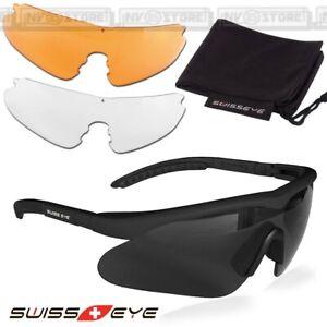 Occhiali Protettivi SWISS EYE RAPTOR con Kit 3 Lenti Ricambio Sunglasses BLACK