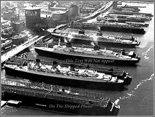 "Poster Print: 18"" x 24"": SS United States, SS France & RMS Queen Mary, NY, 1962"