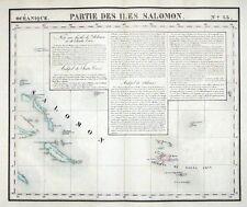 SOLOMON ISLANDS, SANTA CRUZ, PACIFIC OCEAN, VANDERMAELEN  antique map 1827
