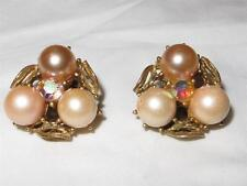 Vintage c1950 Luster Beads Cluster Earrings Gold Leaves Clip-on Signed Star