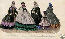 Vintage October 1862 LADIES FASHION - Original French hand painted engraving
