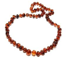 Genuine Baltic Amber Necklace for Adult Cognac 45 cm