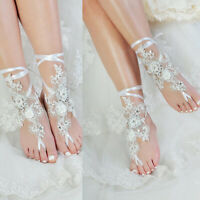 Beaded Rhinestones Wedding Bridal Accessories Lace Anklet Foot Chain White Ivory