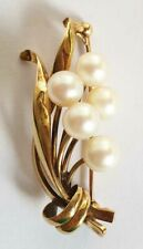 TIMELESS VINTAGE MIKIMOTO 14K GOLD 5 PEARL BROOCH/PIN