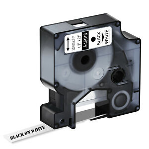 1x Label Kassette zu Schriftband Dymo 45013 D1 schwarz auf weiß LM 150 160 200