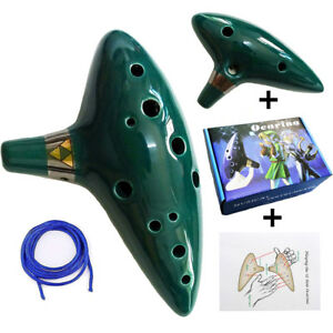 Green 12 Hole Ocarina of Time Craft Instrument Alto C Flute Legend of Zelda Gift