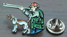 Hunter & Hunting Dog Lapel Cap Hat Tie Pin Badge Brooch Gun Shooting Rifle Gift