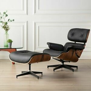 Eams Lounge Chair High-End-Boutique Ottomane Echt Schwarz Leder Walnut Sessel
