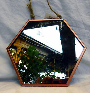 Two x Copper Framed Hexagonal Shape Wall Mirror - Large and Small -  BNWT