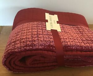Laura Ashley Lewes Cranberry Velvet Bedspread/Quilt King/SUPER 240CM X 260 NEW