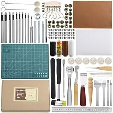 Leather Crafting Kit Set Mat Needle Tools Professional Repair 44 Pieces Complete