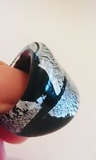 Murano Glass Ring Black/Silver Size N
